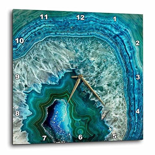 3dRose Luxury Aqua Blue Marble Agate Gem Mineral Stone Wall Clock, 10 x 10
