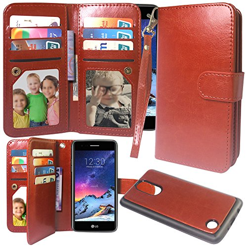 LG Aristo Case, LG Phoenix3 Case,LG Fortune Case, Harryshell Luxury 12 Card Slots Shockproof PU Leather Wallet Flip Protective Case Wrist Strap Removable Magnetic Back Cover for LG Aristo (Brown)