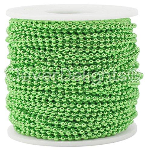CleverDelights Ball Chain Roll - 100 Feet - Metallic Green Color - 2.4mm Ball - Metal Ball Bead Chain (Pendant Tile 3 Light)