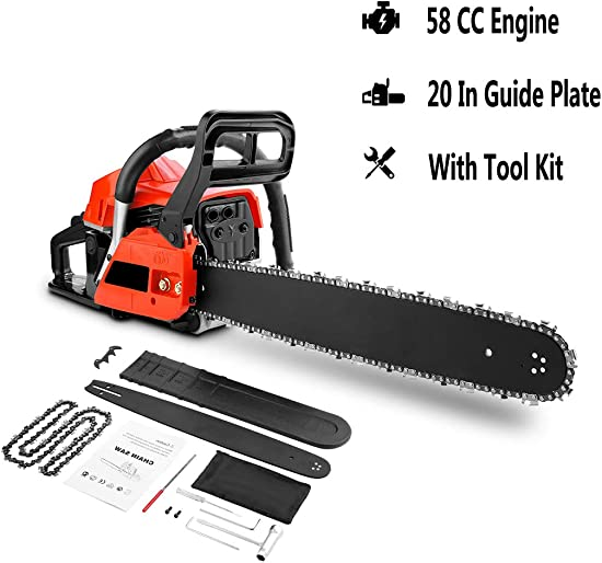 Aceshin 58CC 2-Stroke Engine 20 Guide Plate Powerful Gas Chainsaw with Tool Kit Suitable for Farms Ranches and Cutting Trees