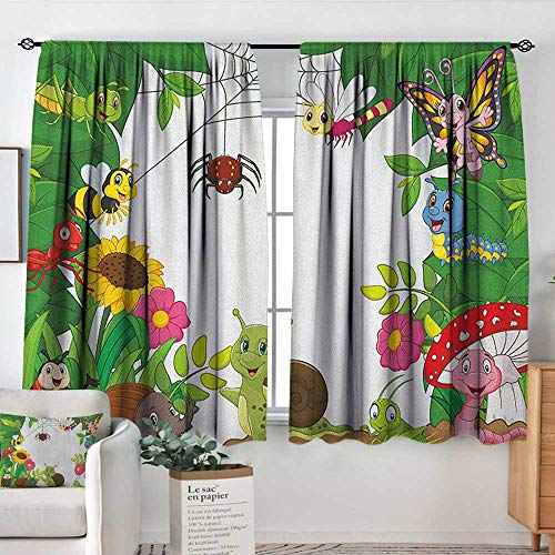 (Theresa Dewey Blackout Curtains 2 Panels Nursery,Happy Little Butterflies Bugs Insects Comic Caterpillars Dragonflies Spider Web, Multicolor,Rod Pocket Curtain Panels for Bedroom & Kitchen 63