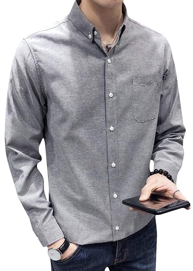CMCYY Mens Long-Sleeve Slim Pure Colour Oxford Button Front Shirts