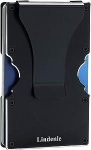 Lindenle Womens Minimalist Slim Wallet RFID Blocking Aluminum Card Holder Money Clip (Black)