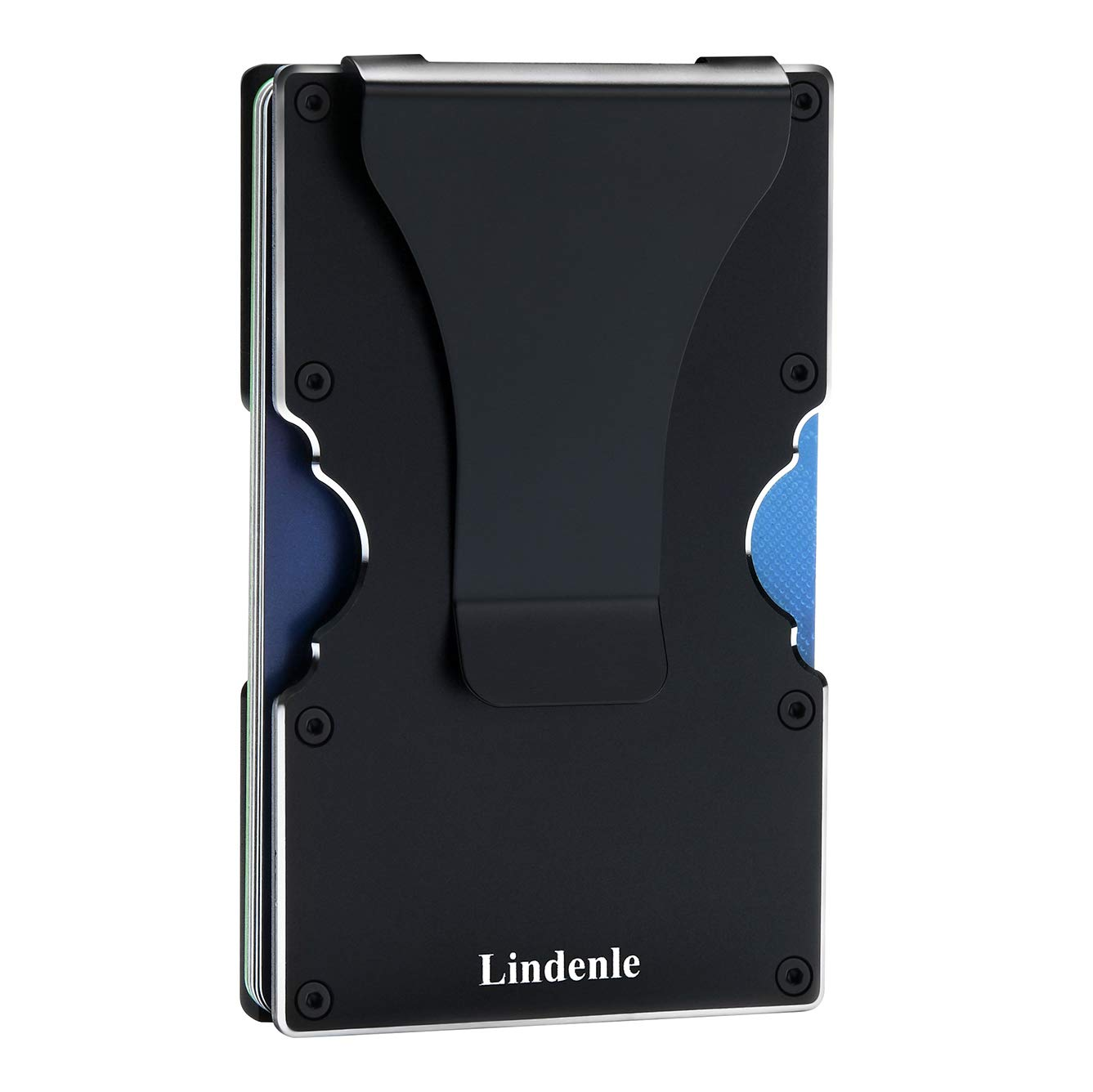 Lindenle Womens Minimalist Slim Wallet RFID Blocking Aluminum Card Holder Money Clip (Black)