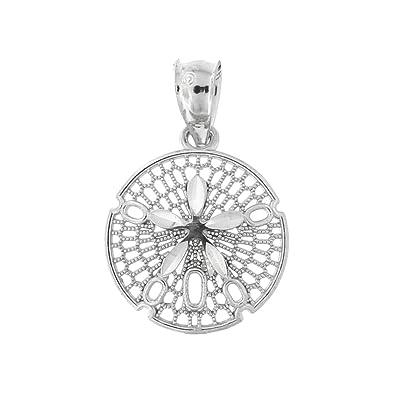 cf6fcf404a1405 Amazon.com: Beauniq 14k White Gold Open Sand Dollar Pendant: Jewelry