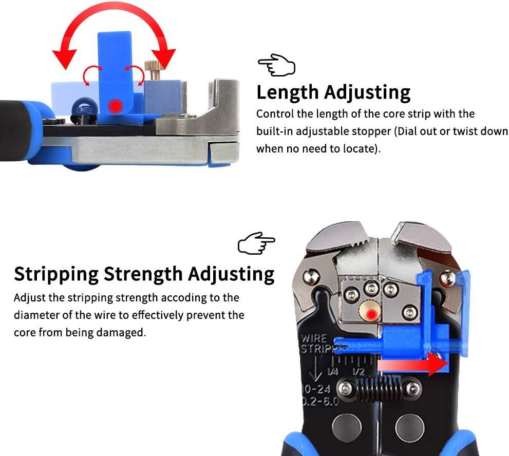 Pince /à D/énuder Outils /à D/énuder//Cutter Auto-r/églable//Sertir 0,2~6,0mm/² EVILTO R/églable Multifonction D/énudeur de Fils Automatique pour Les Cables AWG 10-24