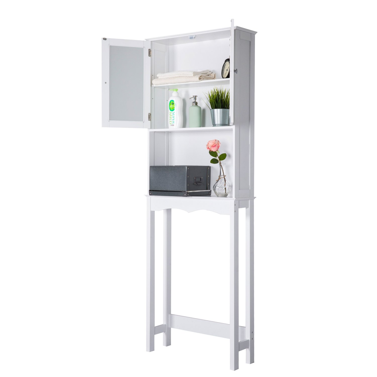 Peachtree Press Inc Home Bathroom Shelf Over The Toilet, Space Saver Cabinet,Bathroom Cabinet Organizer with Moru Tempered Glass Door, White by Peachtree Press Inc (Image #5)