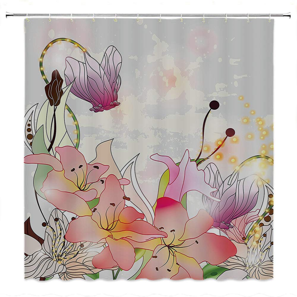 SATVSHOP Kids Shower Curtain-Floral Elegance Lily Blossoms in Soft Pastel Ton Enchanted Bridal omance Kitsch .W108 x L72 inch