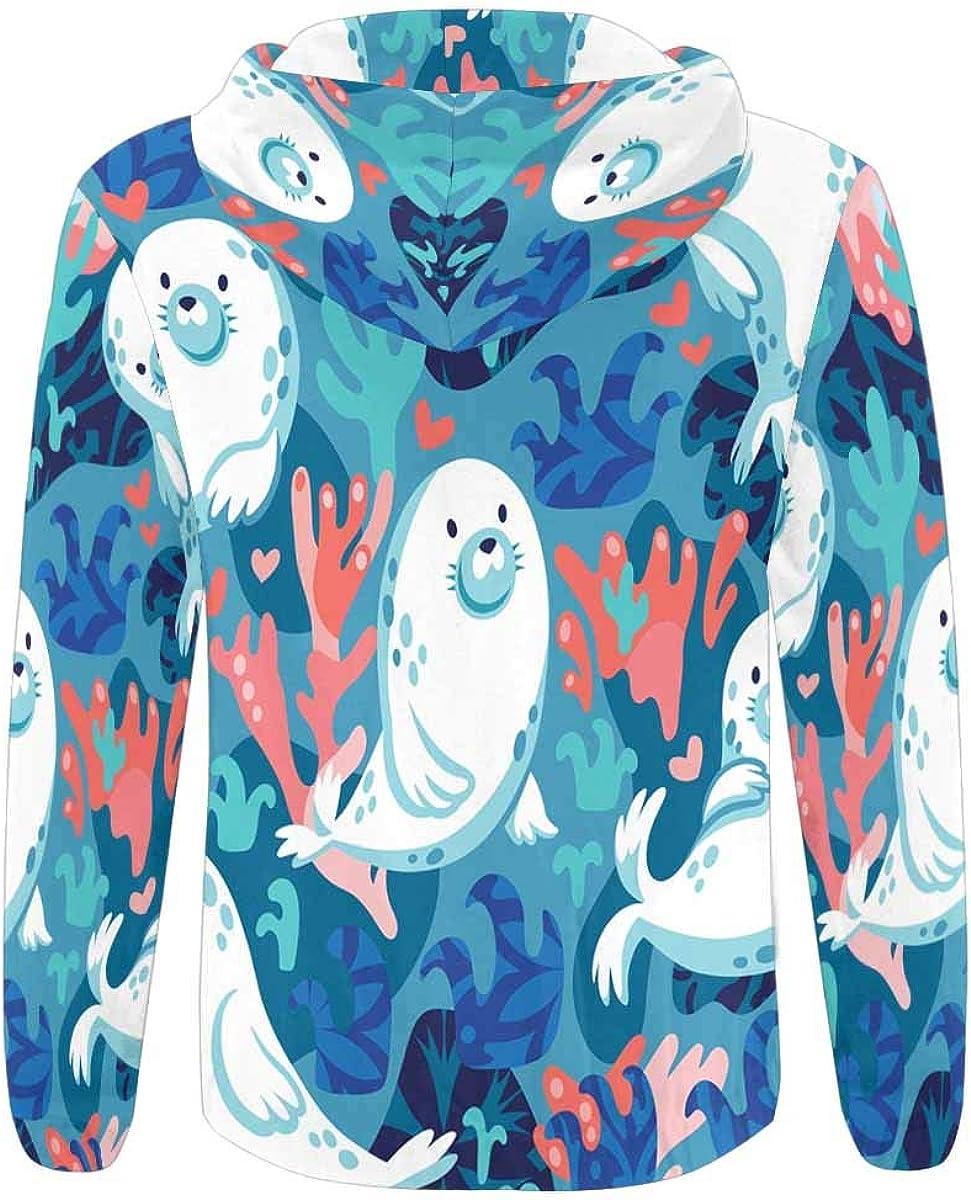 INTERESTPRINT Mens Full Zip Hoodies Cartoon Halloween Bat