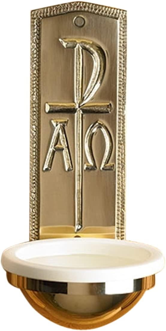 Stratford Chapel Polished Brass Chi Rho Holy Water Font, 9 1 2 Inch