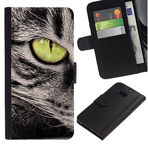 EuroCase - HTC One M8 - green eye cat grey american wirehair - Cuero PU Delgado caso cubierta Shell Armor Funda Case Cover