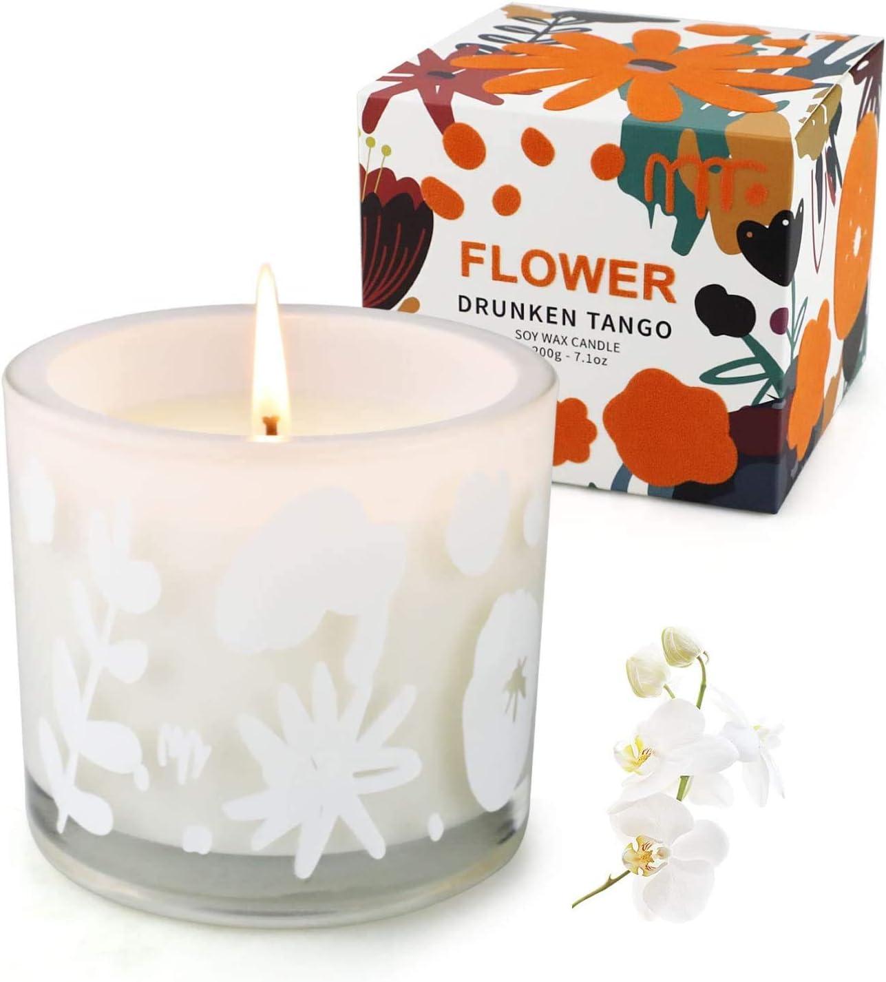 YUE GANG Velas para El Hogar Perfumadas - Velas Perfumadas para Regalar a Las Mujeres - Velas En Frasco - Velas Relajantes De Aromaterapia con Orquídeas y Lirios de 7,1 oz 50 Horas