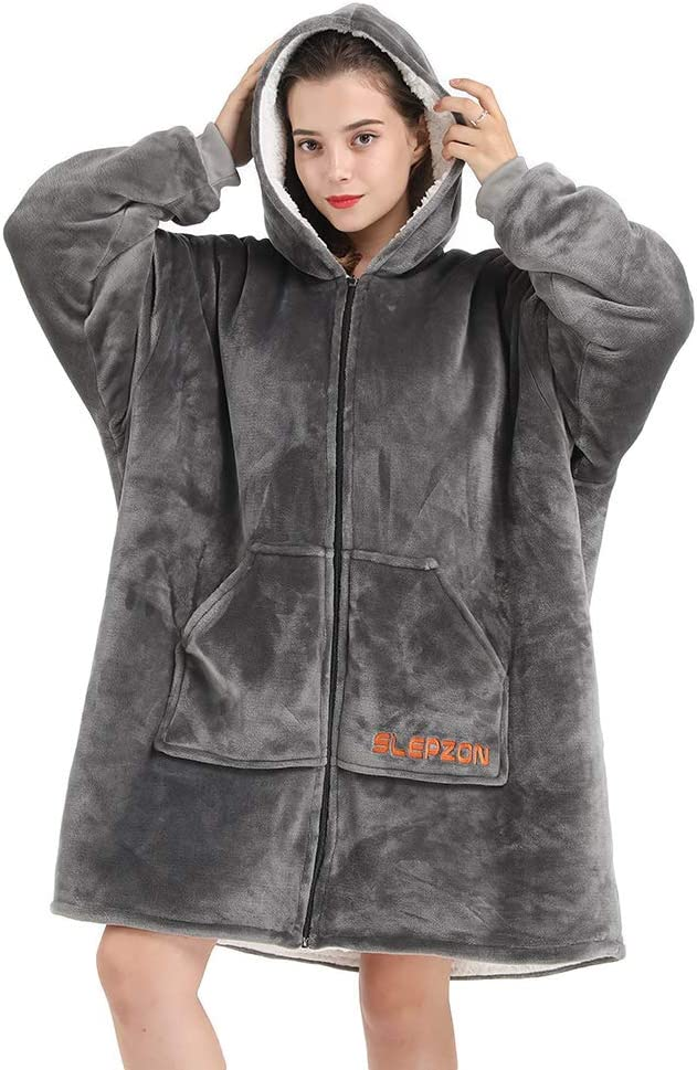 SLEPZON Blanket Hoodie | Oversized Wearable Blanket - Deep Pockets, Comfy Sleeves, Front Zipper - Deluxe Fleece Sweatshirt Blanket - Grey