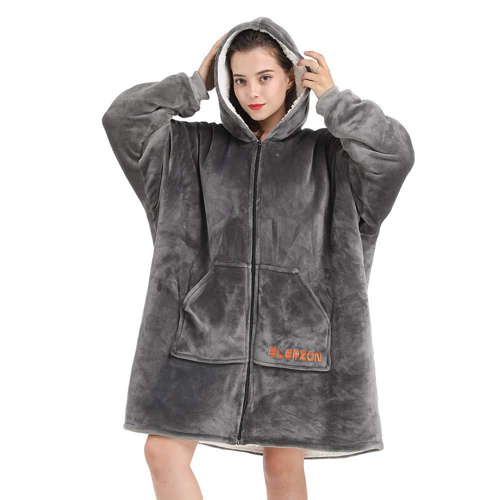 SLEPZON Blanket Sweatshirt, Over-Sized Hoodie Blanket, Deluxe Fleece Blanket with Sleeves and Pockets for Men, Women, Children, Front-Zipper Easy to Get in&Out of, Grey by SLEPZON