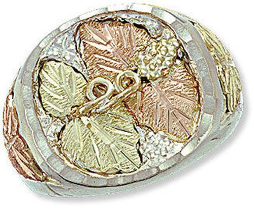 - Landstroms Sterling Silver Mens Ring with 12k Black Hills Gold Leaves - MRL02319