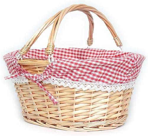 MEIEM Wicker Basket Gift Baskets Empty Oval Willow Woven Picnic Basket Easter Candy Basket Large Storage Basket Wine Basket with Handle Egg Gathering Wedding Basket Pink