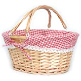 MEIEM Wicker Basket Gift Baskets Empty Oval Willow Woven Picnic Basket Easter Candy Basket Large Storage Basket Wine Basket w