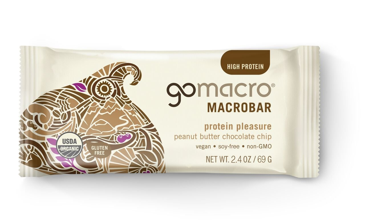 GoMacro MacroBar, Organic Vegan Protein Bar, Peanut Butter + Chocolate Chip, 2.4 oz (Pack of 12)