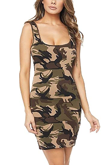 164df991be09 Coolred-Women Tight Fit Camo T-Shirt Tank Top Sexy Sleeveless Dresses Green  S
