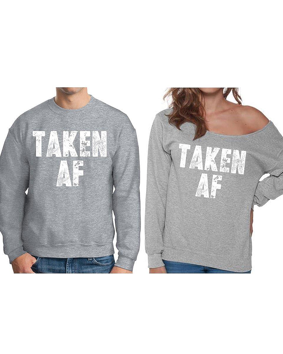 Pekatees Taken AF Sweatshirts for Couples Funny Off Shoulder Valentines Sweater