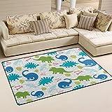Yochoice Non-slip Area Rugs Home Decor, Stylish Funny Colorful Dinosaur Animal Floor Mat Living Room Bedroom Carpets Doormats 60 x 39 inches