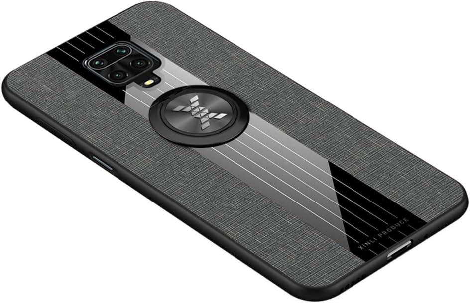 HAOYE Funda para Xiaomi Redmi Note 9S/Note 9 Pro Carcasa, Anillo de 360 Grados de Metal [Estilismo de Tela de Lona Tejida] con Marco de Silicona Suave TPU Protección contra Caídas. Gris