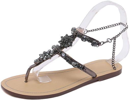 Women/'s Gladiator RHINESTONE Strap Strap Sandals Flat Beach Shoes New