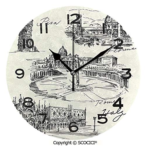 SCOCICI 10 inch Round Clock Travel The World Themed Historical Italian Landmarks Venice Rome Florence Pisa Decorative Unique Wall Clock-for Living Room, Bedroom or Kitchen Use