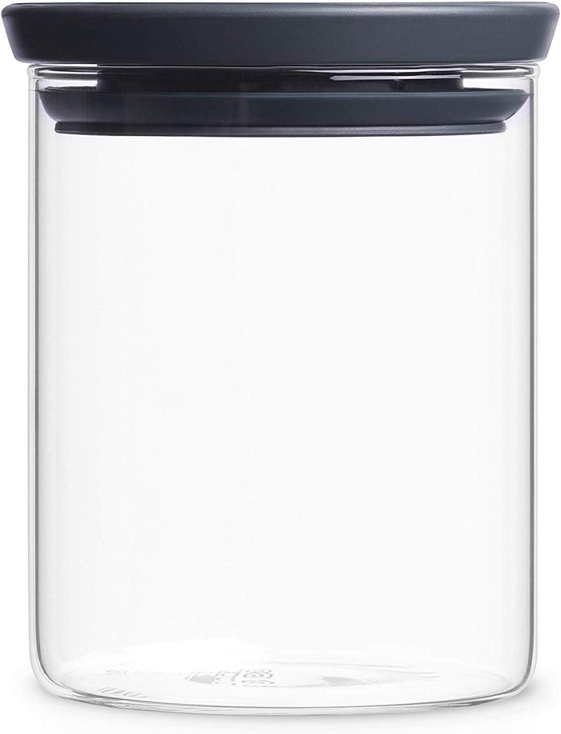 Brabantia 298288 - Tarro de Cristal, 0.6 L, Tapa Gris Oscuro