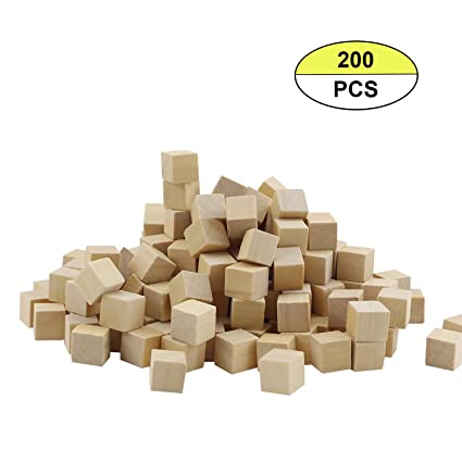 500 Beads Cube Wood Waxed