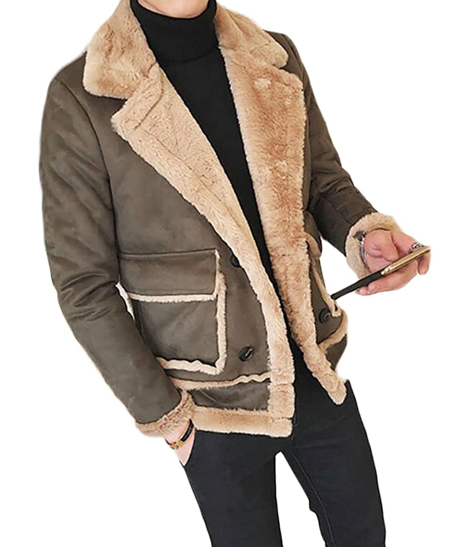 BLTR-Men Vintage Slim Lapel Lined Shearling Trucker Jacket