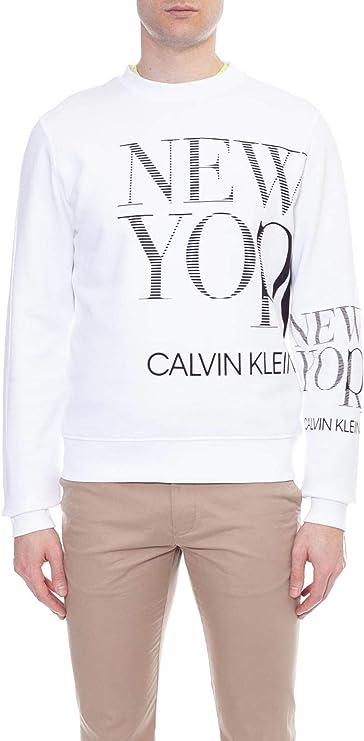 Calvin Klein Jeans – Sudadera para hombre blanca con gráficos NY: Amazon.es: Ropa y accesorios