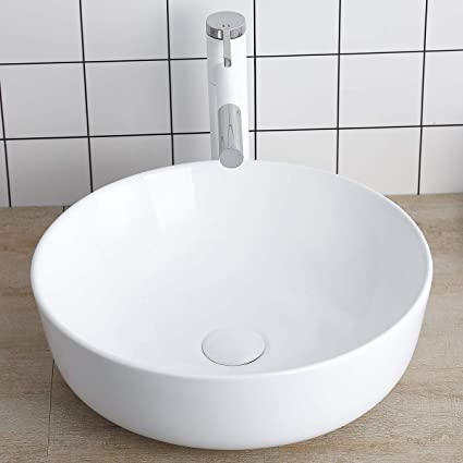 Round Vessel Sink Above Counter Sink 16 Inch Kitchen Sink Ceramic -  Bathroom Vanity Bowl Art Basin Lalasani Fireclay Farmhouse Sink White