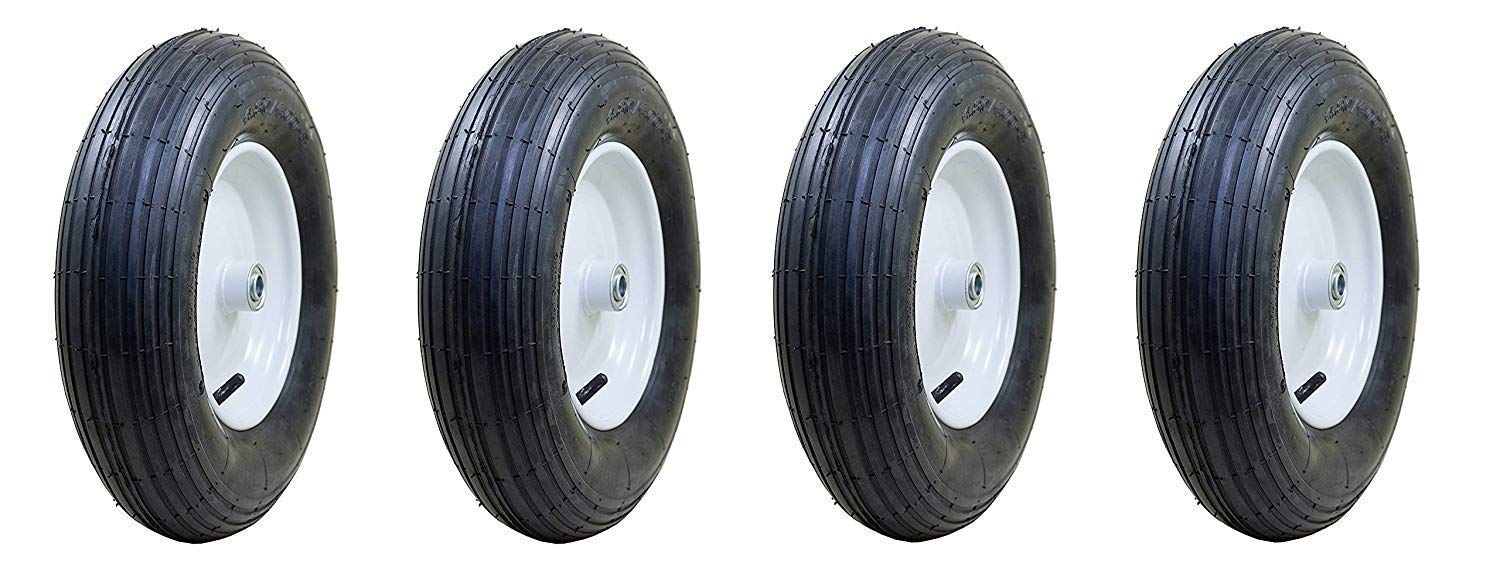 Marathon 4.80/4.00-8'' Pneumatic (Air Filled) Tire on Wheel, 3'' Hub, 3/4'' Bearings, Ribbed Tread (Pack of 4) by Marathon Industries