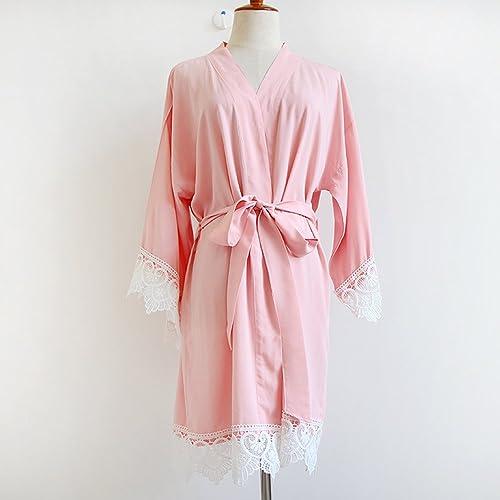 Blush Pink mujeres Kimono Robe (con encaje MIC) - Dama de kimono túnica regalo