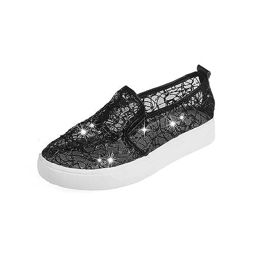 6e35339559bd7c Casual Flats Cut Outs Floral Lace Rhinestones Design Black Gold Silver  Footwear (Women s 5.5