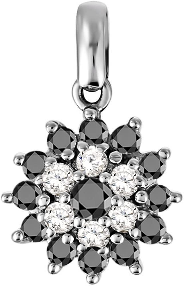 0.5 ct. twt. with Black CZ TwoBirch Silver Silver Cluster Pendant with Chain Set with Black CZ 0.5 ct. twt.