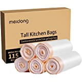 Meidong Bin Bags 50L Bin Liners, Drawstring Trash Bags Large Strong Unscented Universal Garbage Bags (5 Rolls, 115 Counts in All, 61cm X 70cm, 0.79min)