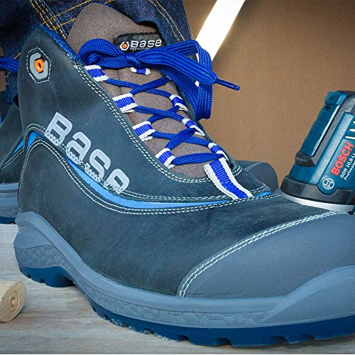 Base BO875 Joy Top S3 SRC Mens Classic sowie rutschfeste geschnürt Sicherheit Boot Grau / Blau