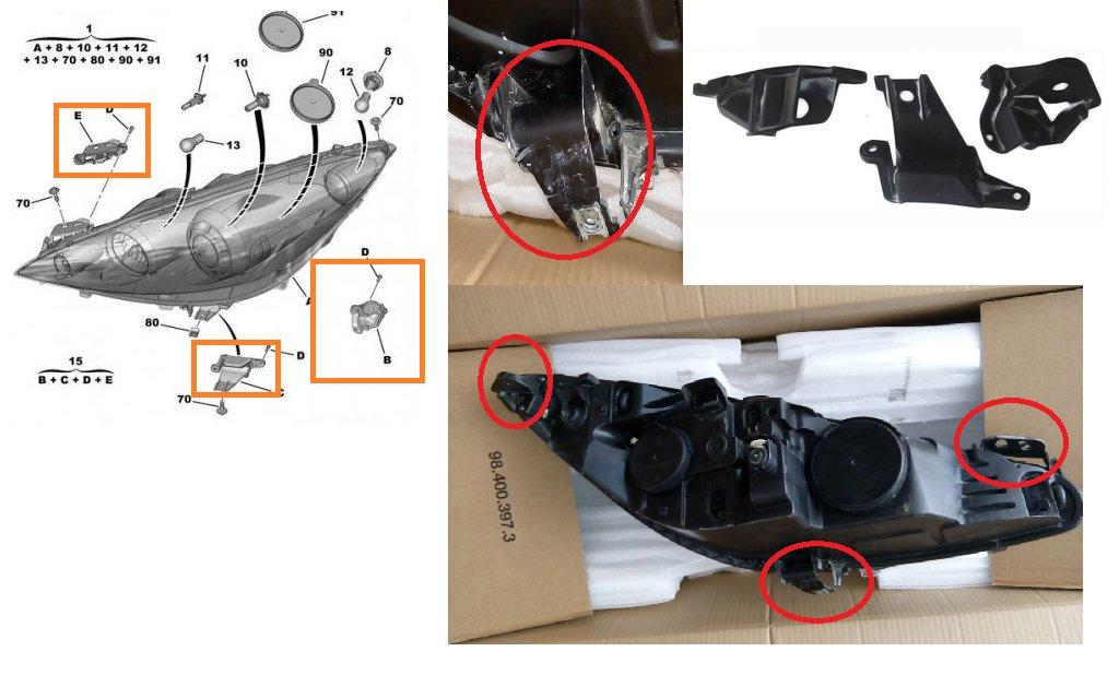 308/frontale Bracket Tab kit de r/éparation pour c/ôt/é gauche