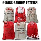 Large Christmas Sacks Santa Present Bag Christmas Gifts Sack Bags Elk Organic Heavy Canvas Bags with Red drawstring Bag, Big Reusable Shopping Bag(6 Random Patten)