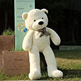5 FT 63 Inches White Super Soft Huge Plush Stuffed Animal Toys Giant Life Size Teddy Bear Doll