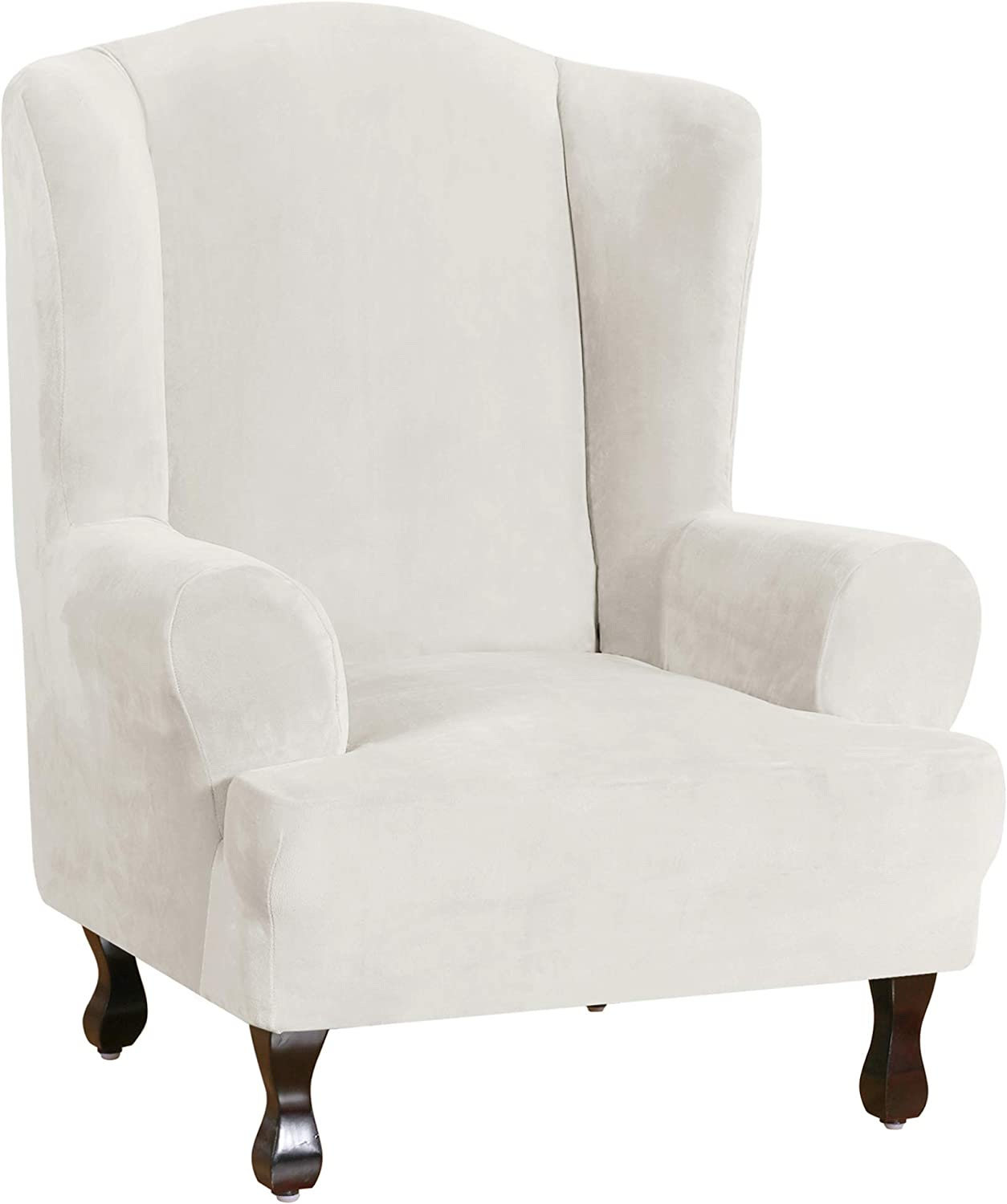 Wing Chair Slipcover Velvet Slipcovers for Wingback Chairs Ultra Soft Plush Sofa Covers 1-Piece Furniture Cover/Wingback Chair Cover with Elastic Bottom, Machine Washable (Wing Chair,Off White)
