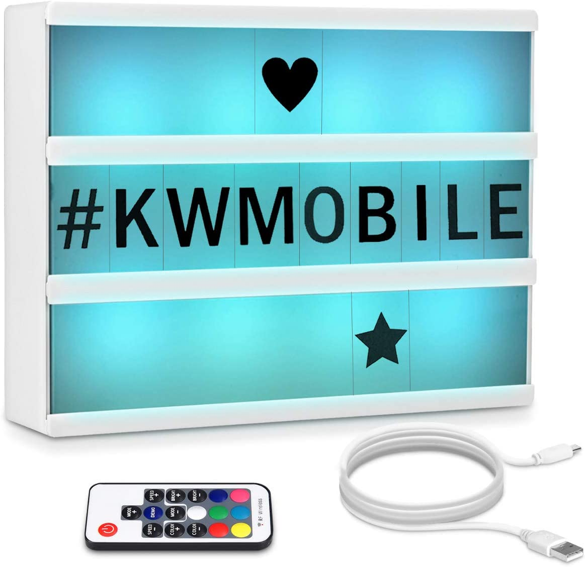 kwmobile Caja de luz cinematográfica LED A4 - Light Box con cambio de color y mando a distancia - Caja luminosa con 126 letras negras y cable USB
