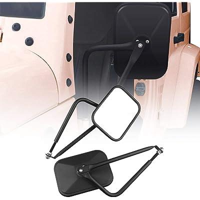 Adventure Door Hinge Mirrors Side View Shake-Proof Door Off Mirror for All Jeep Wrangler JK,JL(07-18), 2Pcs (Textured Black) (rectangle-2): Automotive
