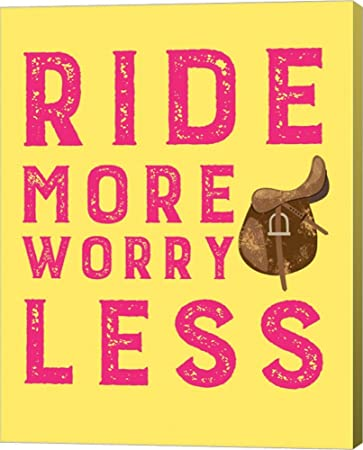 Amazon.com: Ride More Worry Less - Yellow by Sports Mania Canvas Art ...