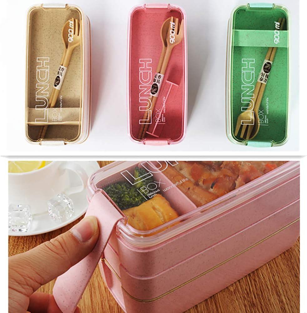 JoyFan Bo/îte /à Lunch Contenants Portables Compartiments /École Pique-Nique Aliments Four /à Micro-Ondes Bo/îte /à bento 3 Niveaux Couverts