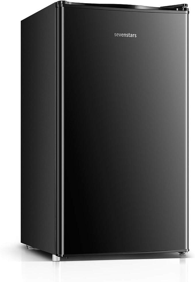 Sevenstars Compact Refrigerator, 4.3 Cu Ft, Mini Fridge with Freezer,Quiet, 1 Door, Ideal Small Refrigerator for Bedroom, Office, Dorm, RV (BLACK)   Amazon