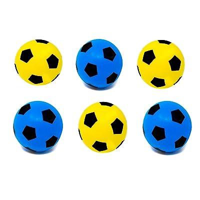 Balón de fútbol (espuma, talla 5), 3 Blue + 3 Yellow: Deportes y aire libre