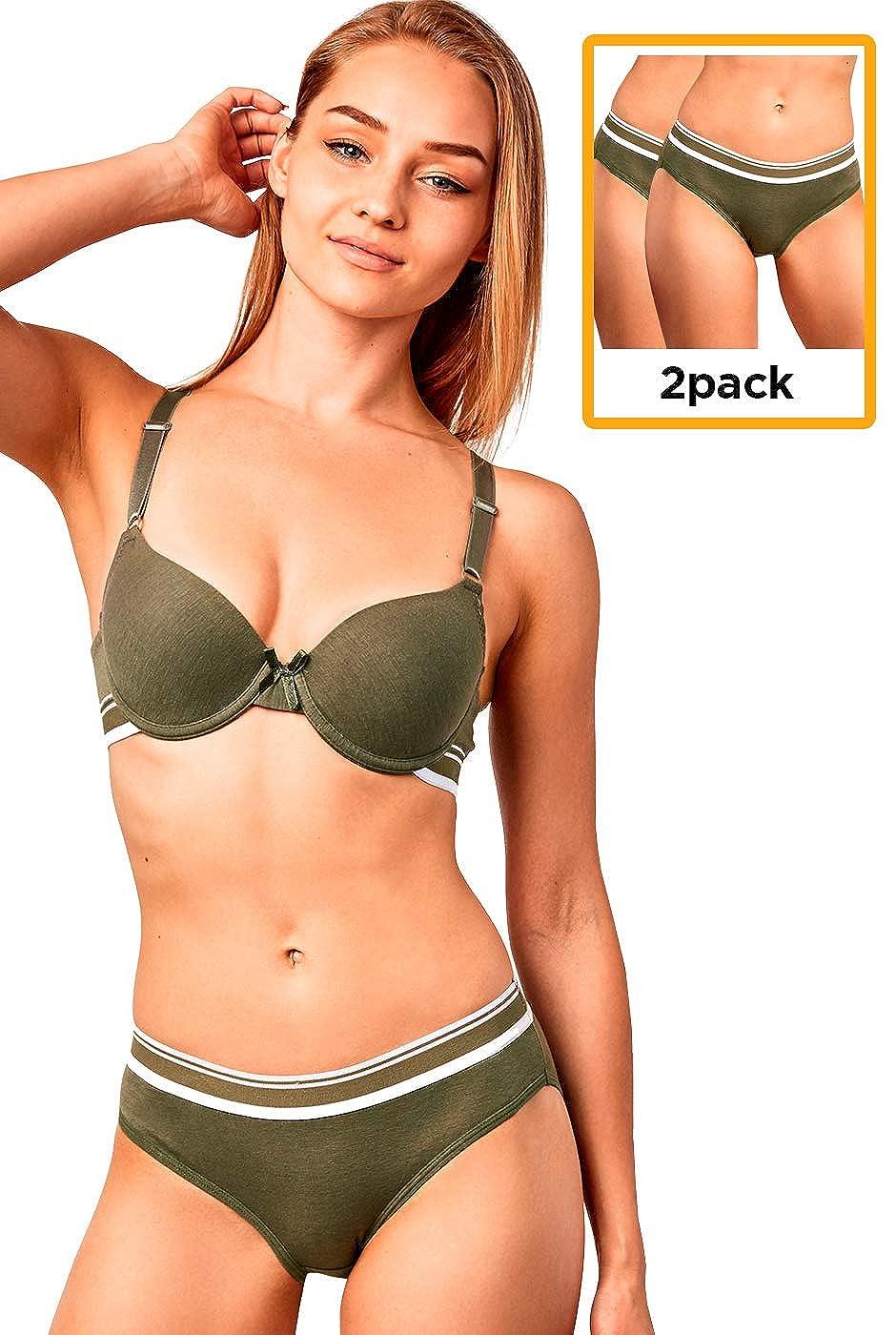 Pack of 6 or 2 Womens Premium Cotton Half Coverage Striped Waistband Bikini Briefs Panty Underwear